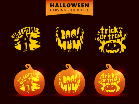 Set of silhouette pumpkin carving character template. Haunted house, scary smile, trick or treat text