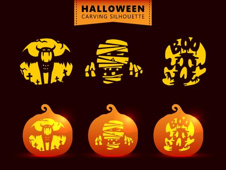 Set of silhouette pumpkin carving character template. Bat, mummy, ghost.