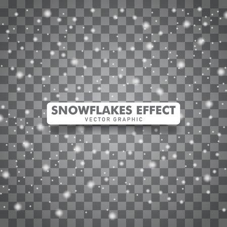 Snowflakes falling down background. Christmas snow background isolated on transparent background. Vector illustration Stock Illustratie