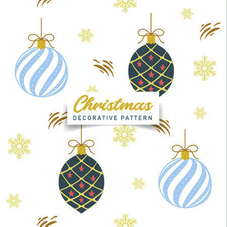 Decorative Christmas ball, gold snowflakes seamless pattern. Vector design for textile, paper print, cloth, web banner background