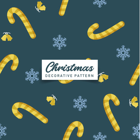 Decorative Christmas gold candy cane, snowflakes seamless pattern. Vector design for textile, paper print, cloth, web banner background Stock Illustratie