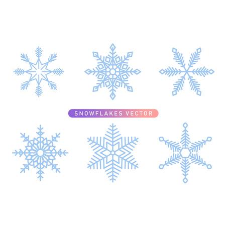 Vector snowflakes symbol icon collection in blue color.