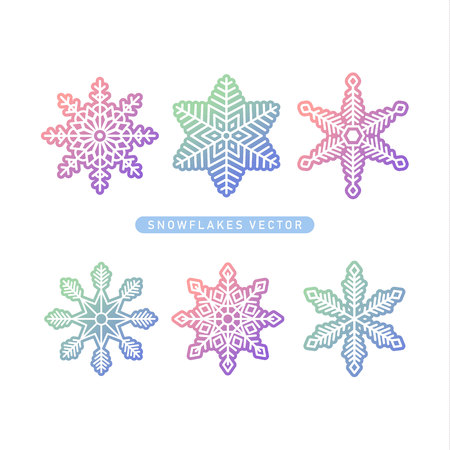 Vector snowflakes symbol icon. modern gradient sweet color. Vector snowflakes graphic collection