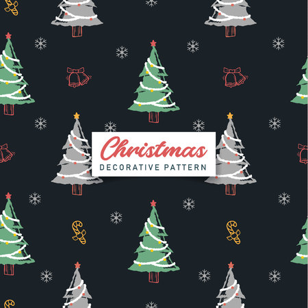 Decorative Christmas tree seamless pattern. Vector design for textile, paper print, cloth, web banner background