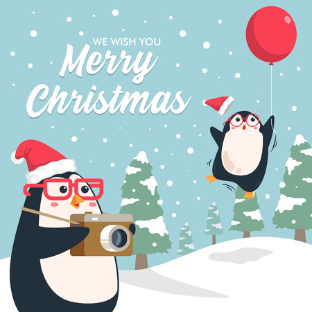 Merry christmas  background. Cute penguin taking picture fly away penguin friend with snowy pine forest landscape. Vector illustration christmas greeting card.