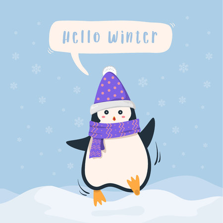 Winter holiday background. Cute penguin cartoon wearing scarf and snow hats cheerfully say
