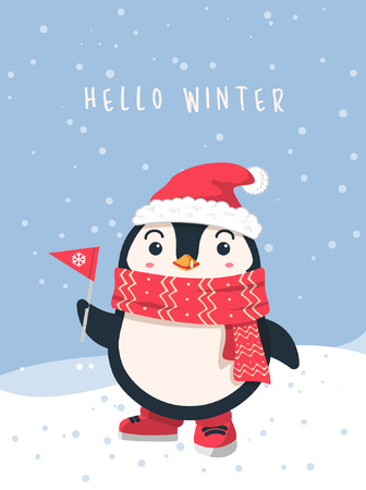 Winter flat design background. Cute penguin cartoon wearing scarf and santa hat holding paper flag. snow scene landscape scene. vector illustration christmas greeting card.  イラスト・ベクター素材