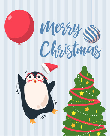 Merry christmas  background. Cute penguin cartoon fly away with red balloon. vector illustration tree christmas greeting card. blue stripe pattern background