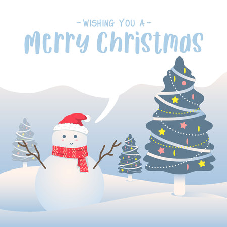 Merry christmas  background. Cute snowman cartoon wearing santa hat. Outdoor snow landscape with decorative christmas pine tree. vector illustration christmas greeting card.