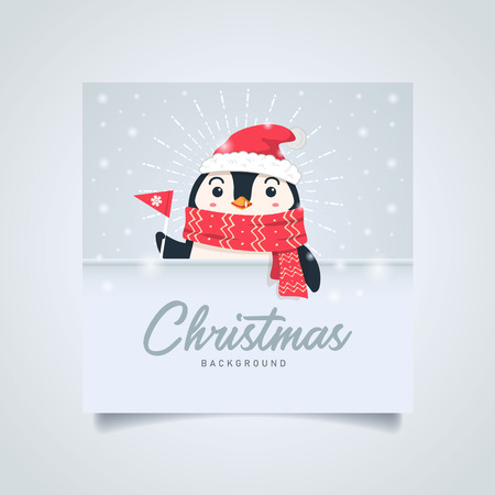 Merry christmas  background. Cute penguin cartoon wearing santa hat holding paper flag. vector illustration christmas greeting card with copyspace text.