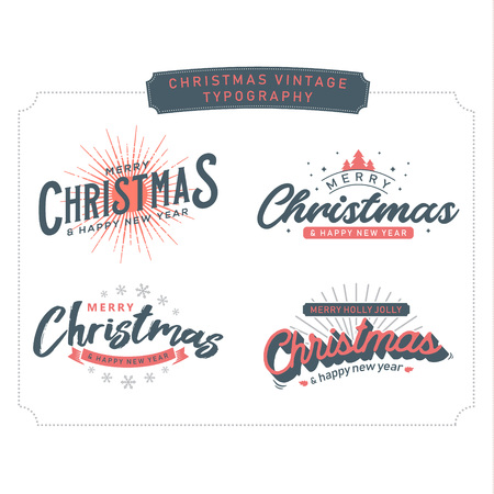 Classic vintage stylish christmas greeting lettering text collection. Retro typography winter. vector graphic illustration
