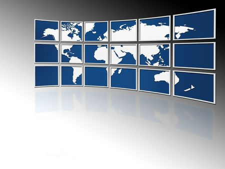 world on tv screens Stock Photo