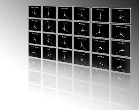 timezone: Timezone clocks Stock Photo