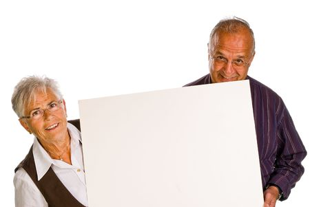 man & woman holding a blank over white background Stock Photo
