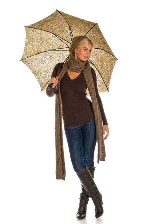 woman with umbrella: woman with an umbrella Stock Photo
