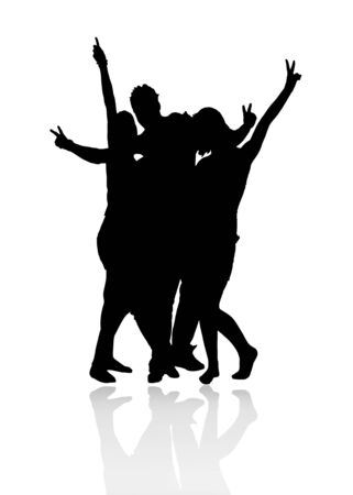 group silhouette Stock Photo - 4037544