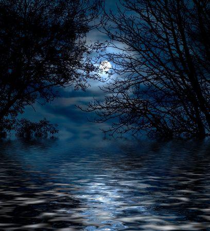 dia y noche: Luna llena  Foto de archivo