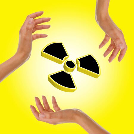 Radioactive yellow sign photo