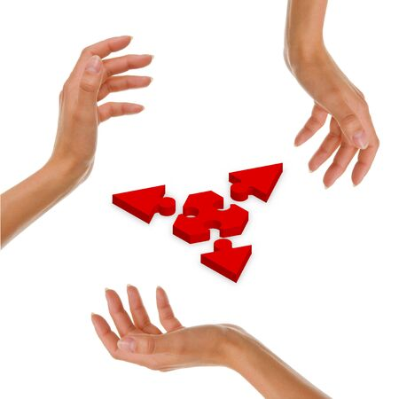 Hands with puzzle Stock Photo - 6241315
