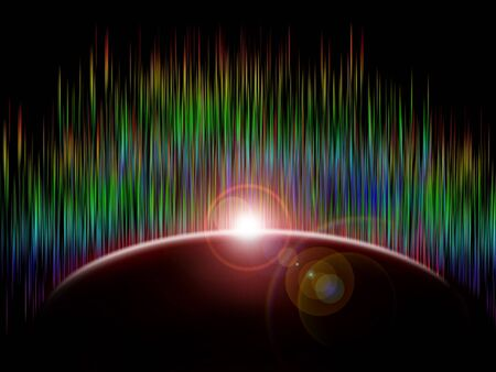 planet with intense lightrays Stock Photo - 6323699