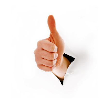 actitud positiva: de mano con un pulgares arriba