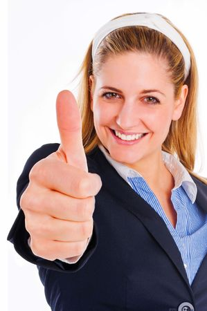 smiling woman with her thumb up photo