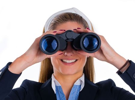 woman watching through binocular Stock Photo