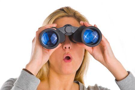 woman watching through binocular photo