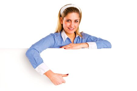 positiv: Young woman over white board