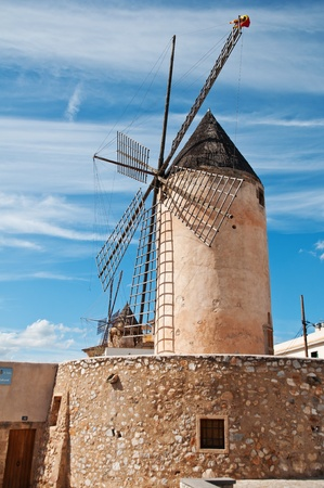 majorca: traditional windmill in palma, majorca