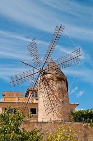 traditional windmill: traditional windmill in palma, mallorca  Stock Photo