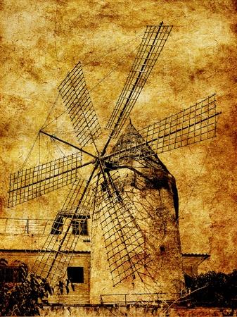 molino de agua: molino de viento tradicional en Palma de Mallorca