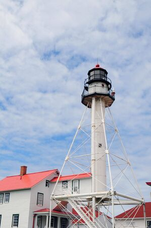 whitefish: Whitefish Point Lighthouse Paradise Michigan (Portrait Orientated) Stock Photo