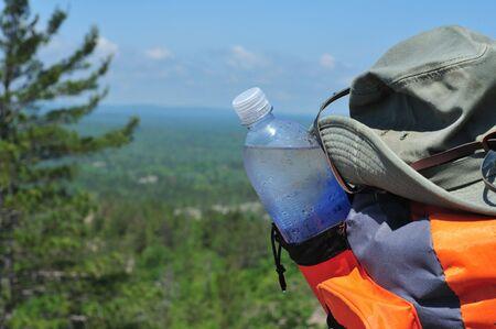 Bottled Water On Mountain Top Left Side Orienated Banco de Imagens - 4182518