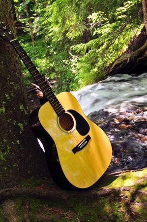 Guitar In Nature Near Waterfall photo