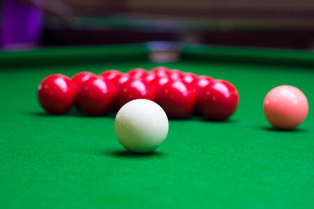 snooker balls: Three different colour snooker balls on the table