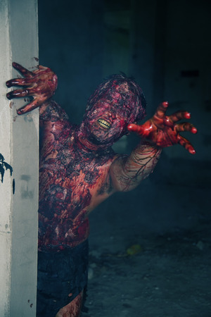 haunted house: Man who burned the Horror of a in an abandoned building Stock Photo