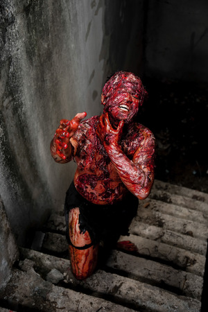 possessed: Man who burned the Horror of a in an abandoned building Stock Photo