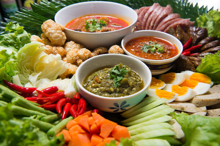 Kantoke, traditionally meal set was popular in North of Thailand photo