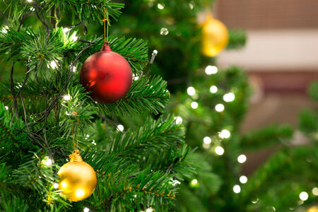 Christmas tree with decoration, detail Christmas tree in garden Stock Photo - 34324538