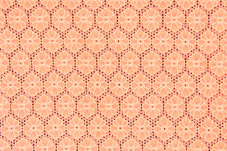 linen fabric: Peach lace sits beautifully on background