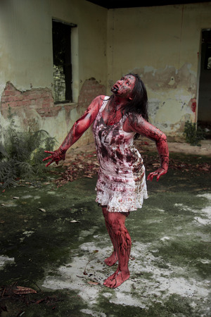 haunt: Zombie girl in haunted house scary