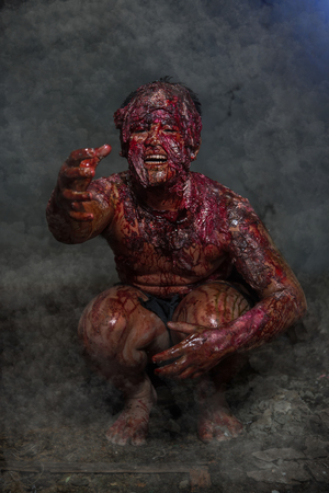 exorcist: Man who burned the Horror of a in an abandoned building Stock Photo