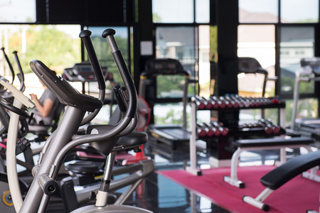 machines: Exercise machines in a fitness club Stock Photo