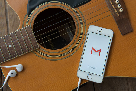 webmail: June 23, 2015:Apple iphone 5s displaying Gmail application. Editorial
