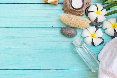 close up view: Close up view of spa theme objects on the wooden floor of pastel