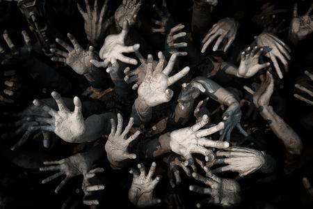 手の幽霊、ゾンビ血まみれの手の背景、マニアック、ゾンビの手が血、ゾンビのテーマ、ハロウィーンのテーマ