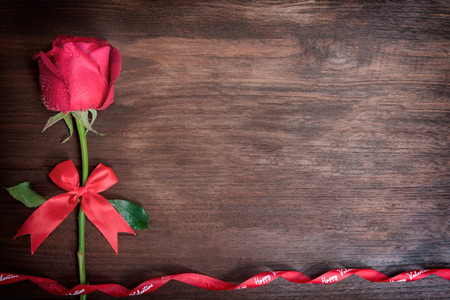 Red rose with message card.Image of Valentines day.with copy space.