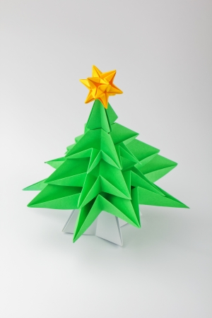Origami A Christmas Green Tree With Star Stock Photo Picture And