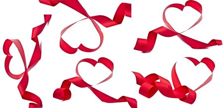 red ribbon in the shape of a heart isolated on white background photo